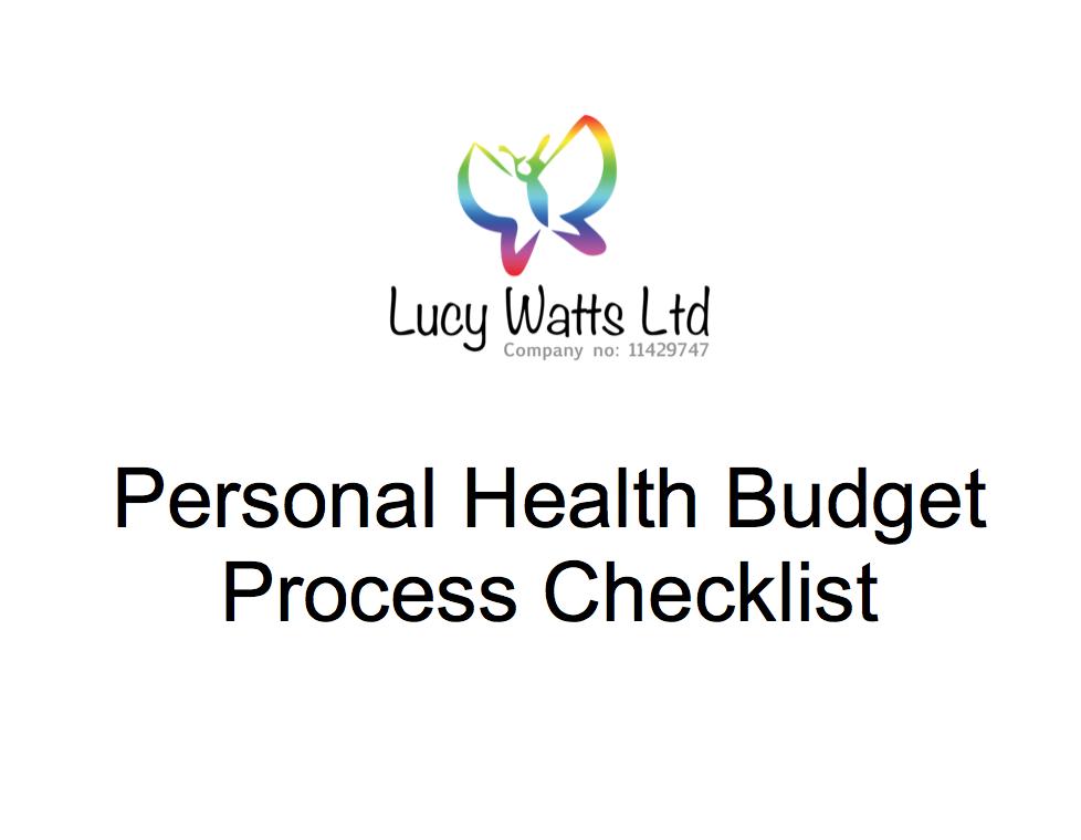 Personal Health Budget Checklist
